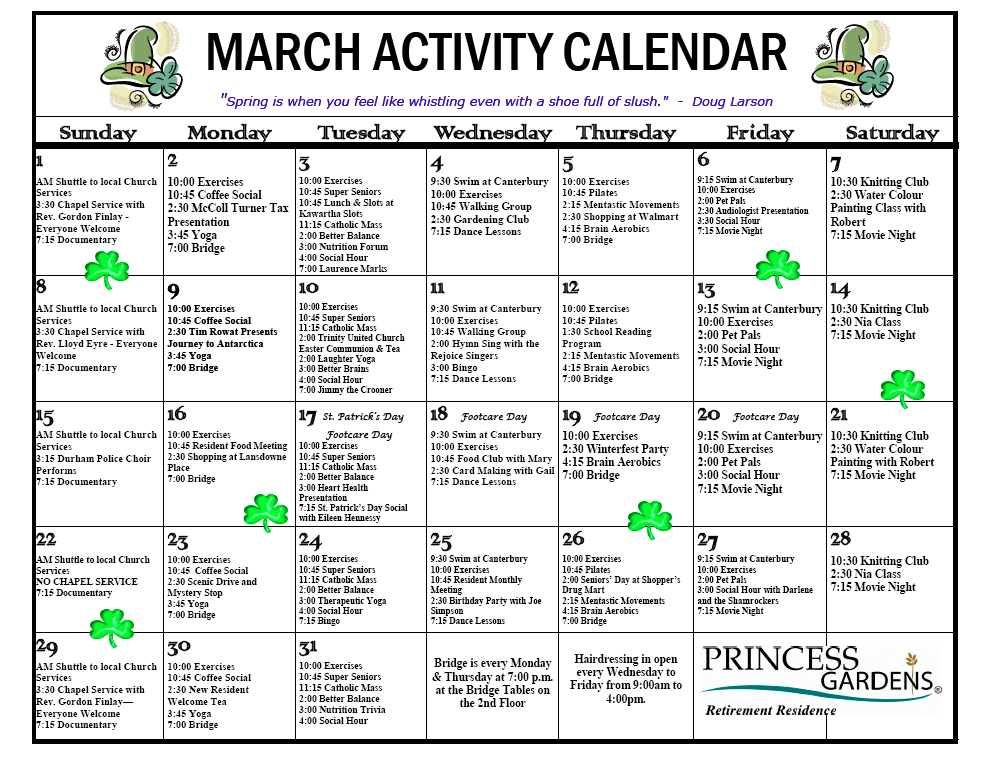 assisted living activity calendar template - sample activities calendar nursing home calendar